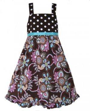 Chocolate Floral Polka Dot Dress- 3-6 month
