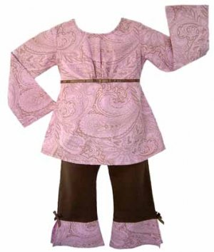 Pink and Brown Paisley Outfit (Long Sleeve)- 3-6 months