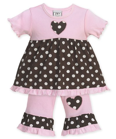 Pink and Brown Polka Dot Heart Outfit- 3-6 months