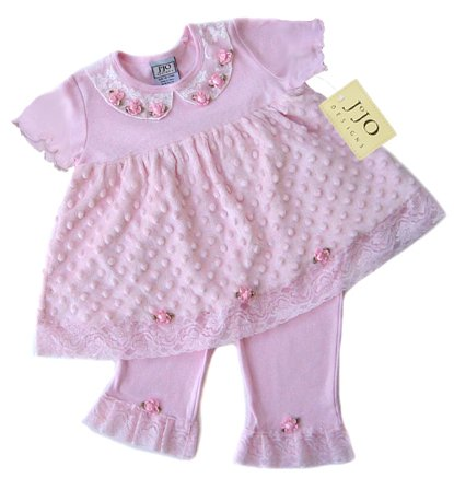 Pink Minky Dot Chenille Outfit 3-6 months