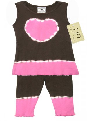 Pink and Brown Tie Dye Heart Outfit Sleeveless 3-6 months