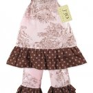 Chocolate and Pink French Toile Outfit 3-6 months