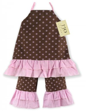 Chocolate and Pink Polka Dot Halter Outfit 3-6 months
