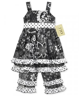 Black and White Floral Dot Outfit 3-6 months