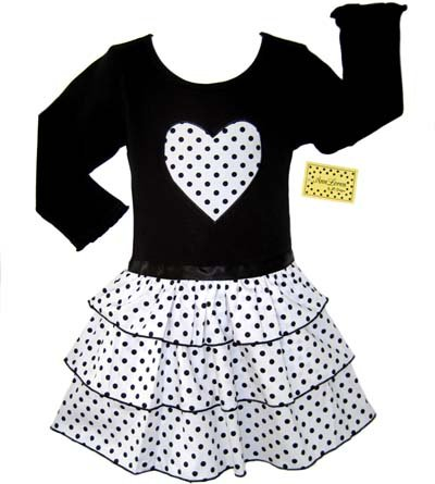 Black and White Dot Ruffle Dress Long Sleeve 6-12 month