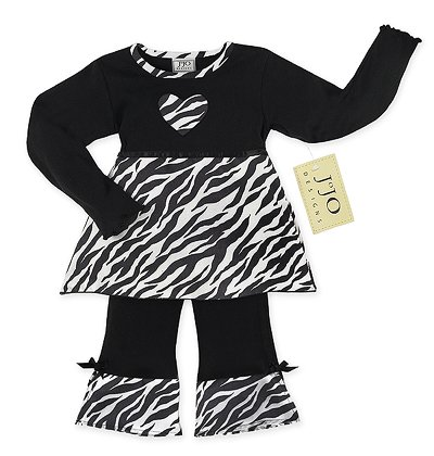 Zebra Print Heart Outfit Long Sleeve 6-12