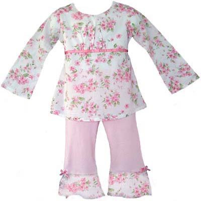 Light Pink Floral Outfit Long Sleeve 6-12