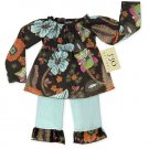 Light Blue and Chocolate Smocked Capri Outfit Long Sleeve 6-12