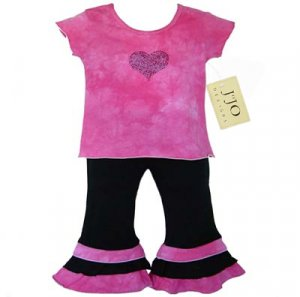 Pink and Black Tie Dye Outfit Short Sleeve 6-12
