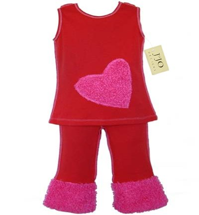 Pink Chenille Heart Outfit
