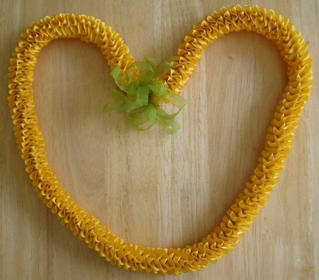 Hawaiian lei w/ ilima orange yellow gold green satin ribbon