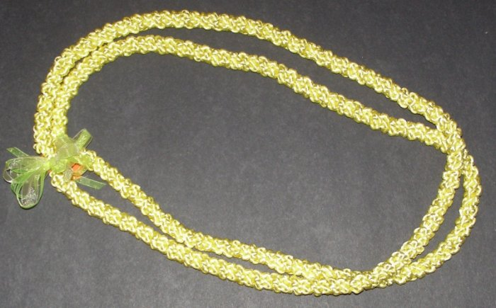 Hawaiian crochet lei 2-strand w/ yellow satin rattail cord