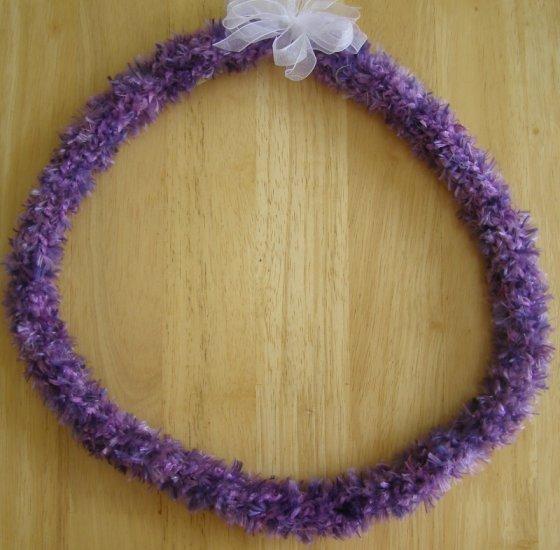 Hawaiian child lei or hat band w/ purple eyelash yarn