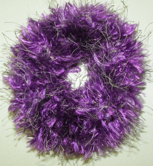 scrunchie hair tie Fun Fur Eyelash yarn crochet purple