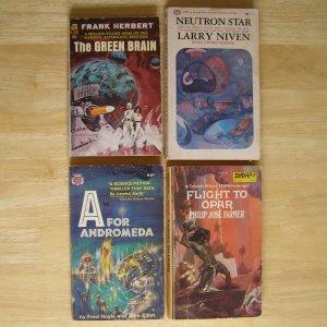 4 Sci Fi books Green Brain Neutron Star A for Andromeda Flight to Opar