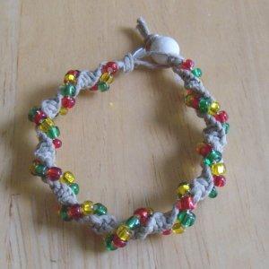 macrame twist hemp bracelet w/ red, green, yellow glass beads