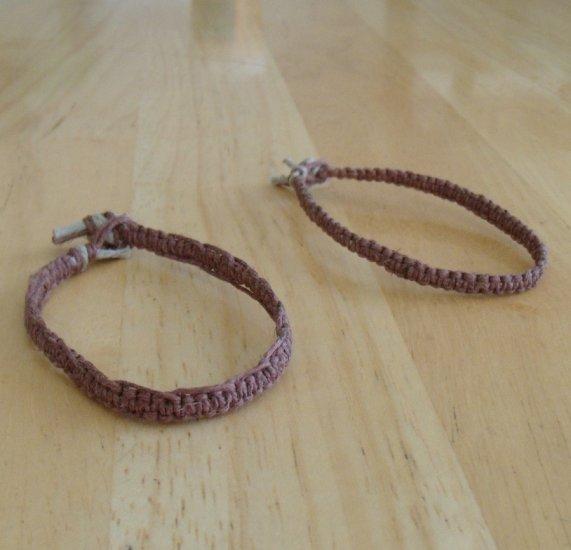 2 macrame 20# hemp bracelets brown