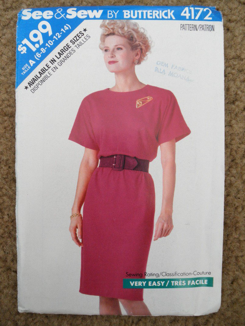 Butterick See and Sew Sewing Pattern 4172 Misses Size 6 8 10 12 14 Easy Dress Uncut