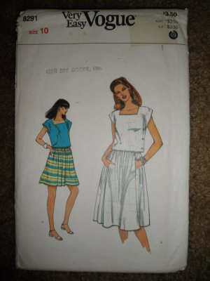 Vogue Sewing Pattern 8291 Misses' Size 10 Easy Top and Skirt Uncut