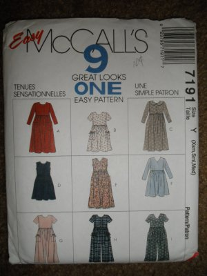 McCall�s Sewing Pattern 7191 Misses Size XSM SM MED Dress Jumpsuit 9 Great Looks