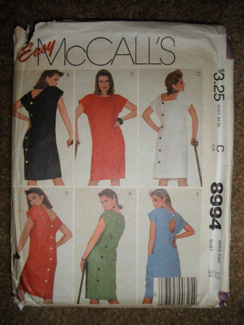 McCall's Sewing Pattern 8994 Misses Size 12 Misses' Dress Uncut
