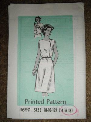 Vintage Sewing Pattern 4690 Misses Size 14 16 18 Dress Uncut