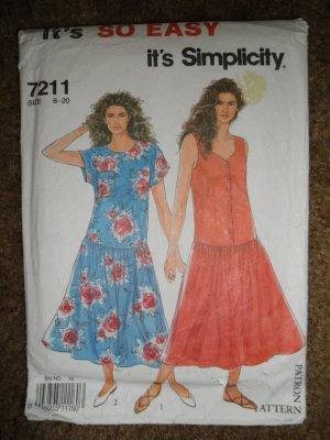 Simplicity Sewing Pattern 7211 Misses Size 8 10 12 14 16 18 20 Dress Uncut