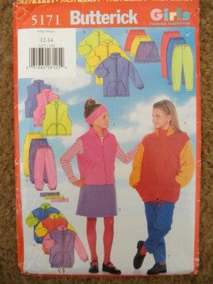 Butterick Sewing Pattern 5171 Girls Size 12 14 Jacket Vest Skirt Pants Headband Uncut