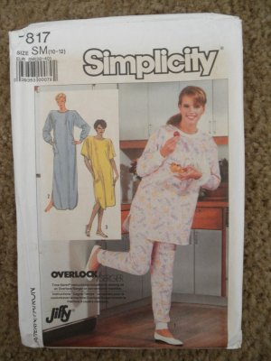 Simplicity Sewing Pattern 7817 Misses Size Small (10-12) Nightgown Pajamas