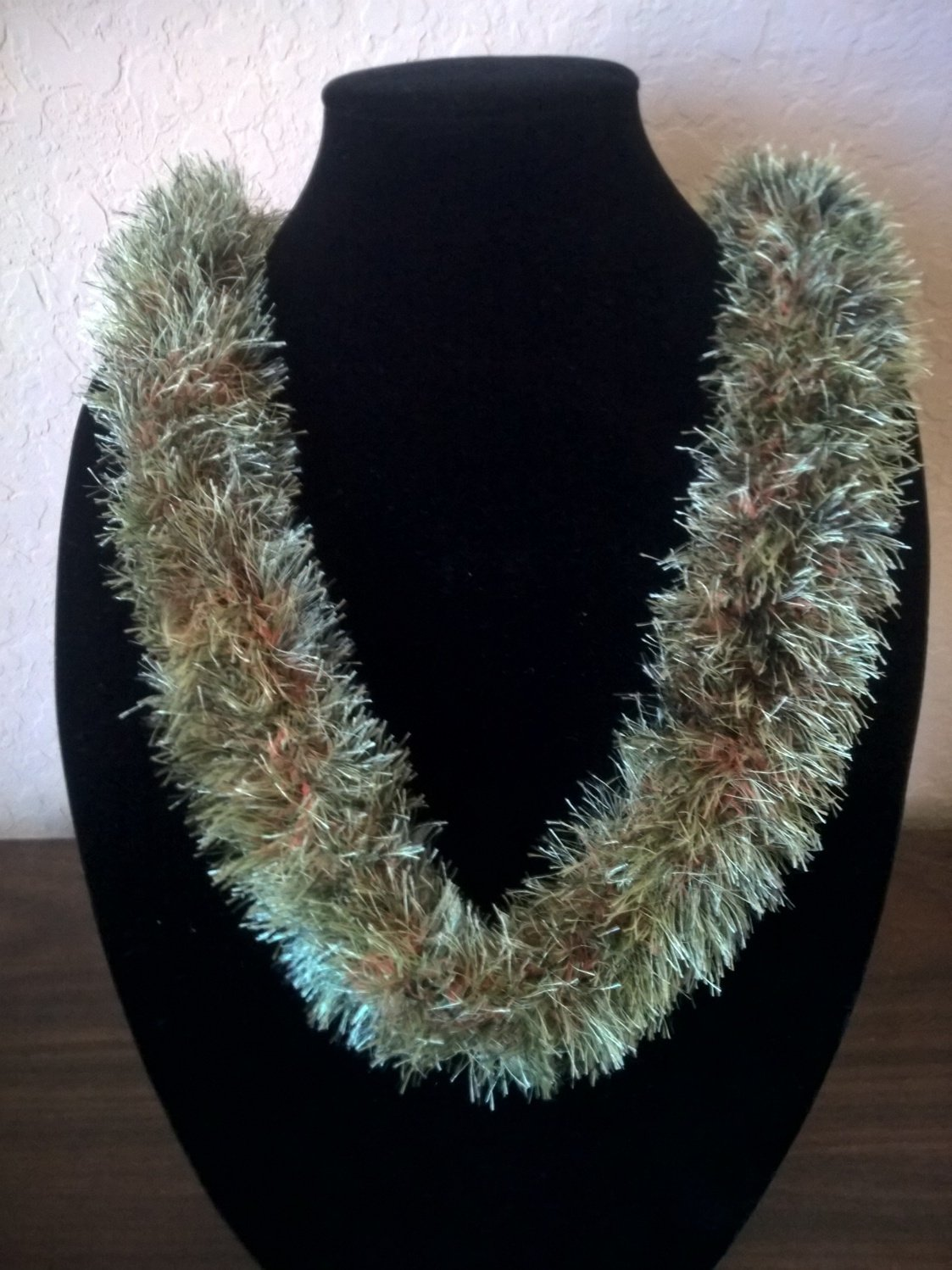 Hawaiian lei hat band knit w/ green brown eyelash yarn