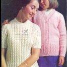 1970s Vintage Knitting Pattern Twin Set Teens