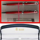 Bill Blass Pen & Pencil Set RED with Refills in Navy Blue Box ~NEW~ Quik SHPG