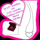 Necklace Rhinestone Heart Necklace with Gift Box Silvertone