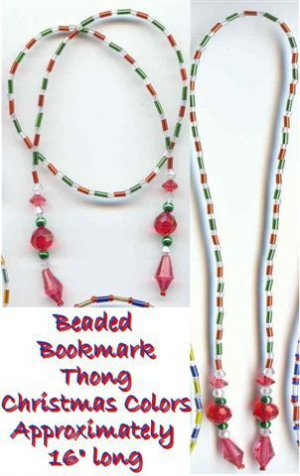 Beaded Bookmark Thong #05 Christmas Color Beads 16 inch NEW