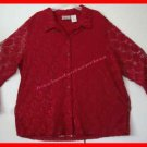 Womens Kathy Lee Lace Overlay Blouse 2XL Beautiful RED'