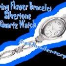 Watch Glittering Flower Bracelet Silvertone NEW in Box