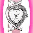 Watch Classic Heart Watch Silvertone Pink Strap NIB