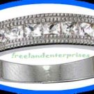 Ring Sterling Silver Princess Cut Square CZ Band Size 8