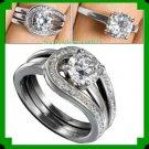 Ring Silvertone Eladia CZ Ring Set of Two Rings Size 8
