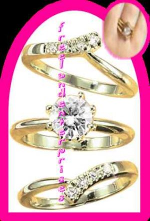 Ring CZ Solitaire Goldtone Three Ring Set all 3 Size 8