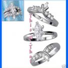 Ring CZ Marquise Set of Three Rings ~Silvertone~ Size 5