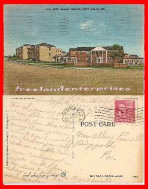 Post Card MD 1139 Fort Meade Brights Fort Meade Md Linen 1953