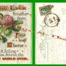 Post Card 00 Good Luck 4 Leaf Clover VTG 1908 1 Cent Stamp