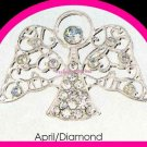 Pin Heavenly Angel Birthstone Tac April Clear Crystals