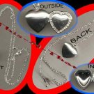 Necklace Locket Silvertone Heart Shape with Rhinestone Accent