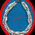"Necklace Beads Multi Strand Stone Choker RARE 20"" long VGC"