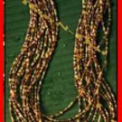 "Necklace Beads Multi Strand Brown Seed 18"" w 3"" extender"
