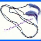 "Necklace Beads Lariat with Feather Accents 48"" with a clasp on each end NEW Box"
