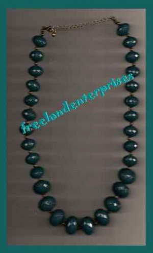 """Necklace Beads Chunky Beaded Teal Color NEW 19"""" & 3"""" extension"""