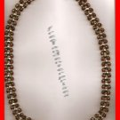 Necklace Beads Brown Transparent & Goldtone Beads #139